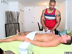 Well-disposed massage leads to massaging his blarney hidden under the towel