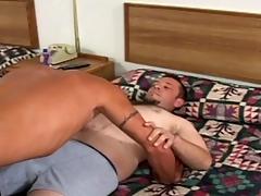 Simmering gay clog rides boyfriend's cock