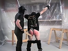 With his hands tied and his pants down, he gets his pest spanked abiding