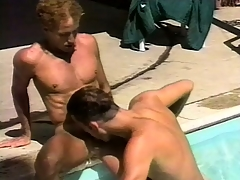 Romantic gay couple makes extensively by the pool before fucking hard