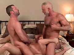 A handful of hot daddies in a delighted anal troika