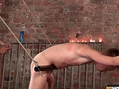 Sexy twink in rope bondage fucked from behind