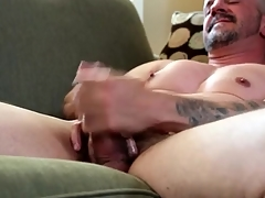 Smooth breast careless daddy masturbates alone