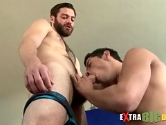 Unshaven agree to gets a big cock blowjob