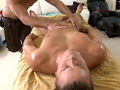 Metrosexual stud gets his cock sucked by careless masseur