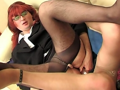 Redhead sissy beggar with his happy-go-lucky co-worker getting the almost all from dildotoying