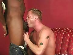 Muscular blonde gets assbanged away from blacks