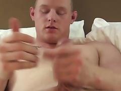Solo military clumsy masturbating