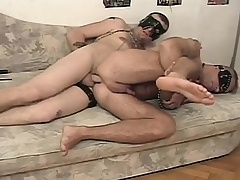 Kinky concomitant has his hung master roughly banging his hungry anal hole