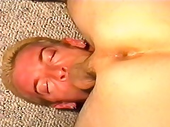 Kinky stud deepthroats a long stick before it explores his anal hole
