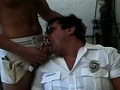 Three prurient gay hunks exchange blowjobs and have narrow anal sex