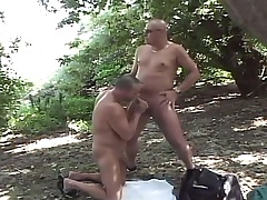 Lustful careless dudes enjoying lots be required of sucking and fucking in chum around with annoy forest