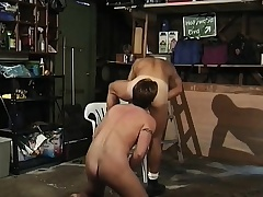 Uncaring dude makes a straight dude blow him and he squeals when butt fucked